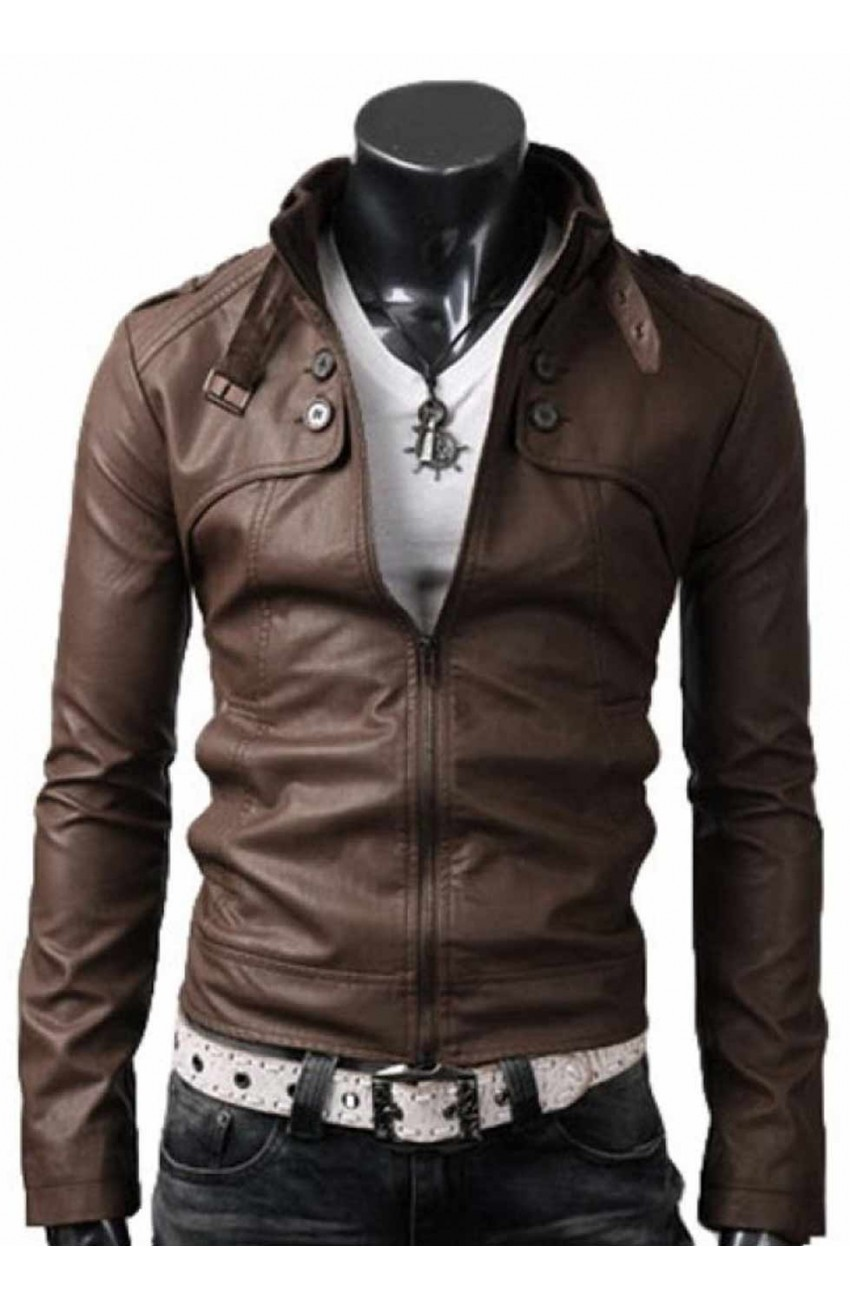 Light Brown Slim Fit Sheepskin Leather Jacket Men – Movies Jacket