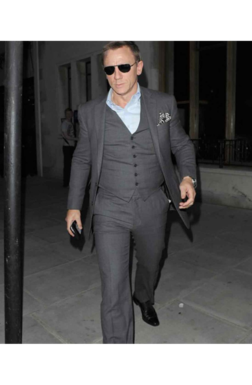 Daniel Craig Grey Charcoal Slim Fit Style Suit – Movies Jacket
